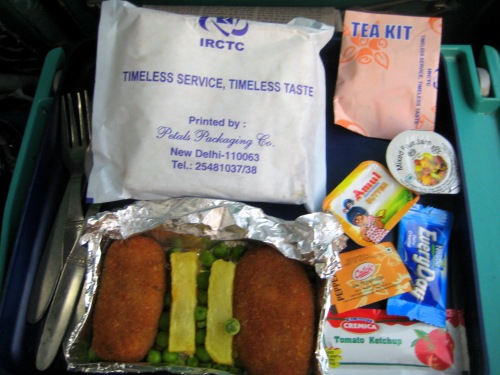 Food on the Shatabdi Express train. Amritsar to Delhi.1.09